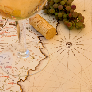 Map with Wine Glass