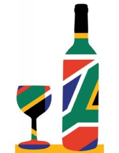 South African Wine Bottle Wine Glass Flag